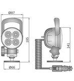 LED Werklamp Verstraler 2000LM + Kabel + Sigarettenplug + Schakelaar + Case afmetingen