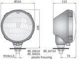 koplamp, H4, Ø161x112 Plastic_