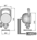 LED Werklamp Breedstraler 2000LM + Kabel + Sigarettenplug + Schakelaar + Case afmetingen
