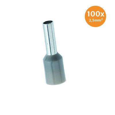 Adereindhuls Geïsoleerd 2,5mm² Grijs 100 stuks