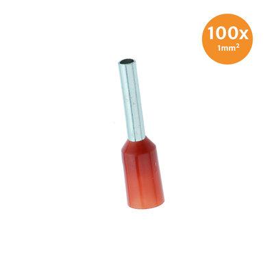 Adereindhuls Geïsoleerd 1mm² Rood 100 stuks