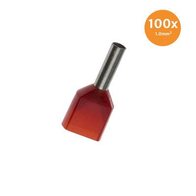 Dubbele Adereindhuls Geïsoleerd 1mm² Rood 100 stuks