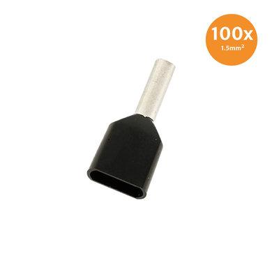 Dubbele Adereindhuls Geïsoleerd 1,5mm² Zwart 100 stuks