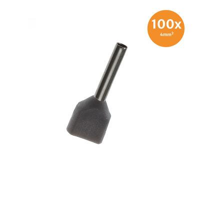 Dubbele Adereindhuls Geïsoleerd 4mm² Grijs 100 stuks