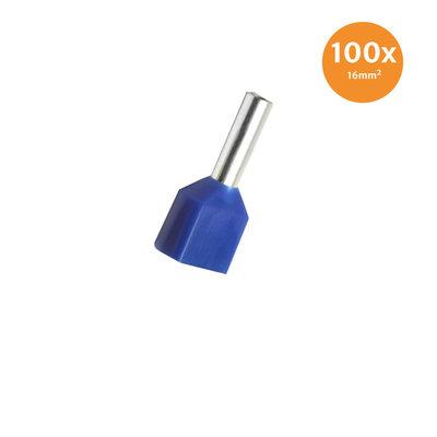 Dubbele Adereindhuls Geïsoleerd 16mm² Blauw 100 stuks
