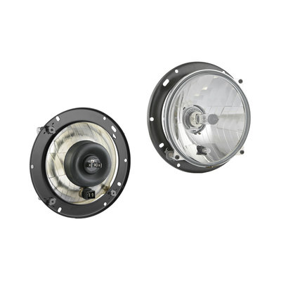 Koplamp H4 Ø182x75 + 12V lampjes en Bevestigingsplaat