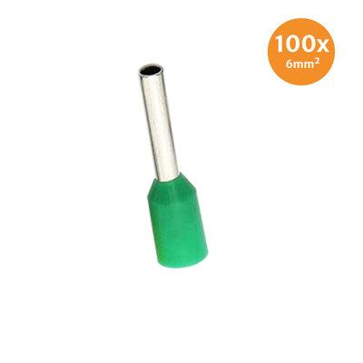 Adereindhuls Geïsoleerd 6mm² Groen 100 stuks