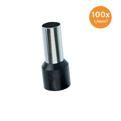 Adereindhuls Geïsoleerd 1,5mm² Zwart 100 stuks