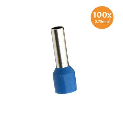 Adereindhuls Geïsoleerd 0,75mm² Blauw 100 stuks