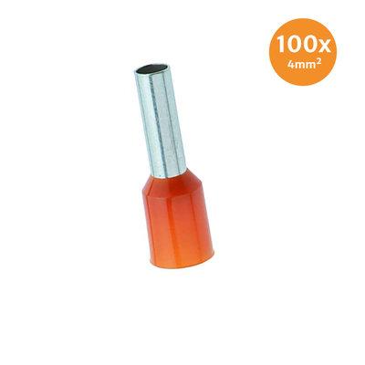 Adereindhuls Geïsoleerd 4mm² Oranje 100 stuks