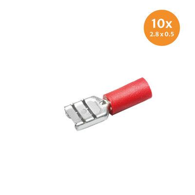 Vlakstekerhuls Rood (2,8x0,5mm) 10 Stuks