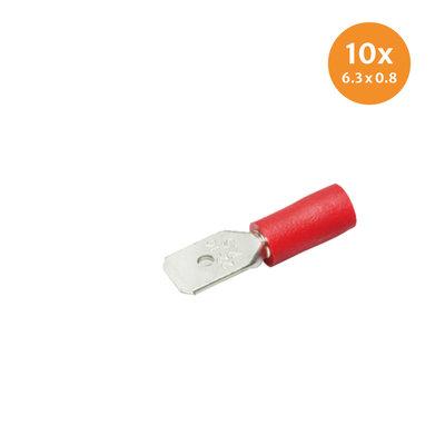 Vlaksteker Geïsoleerd Rood (6,3x0,8mm) 10 Stuks