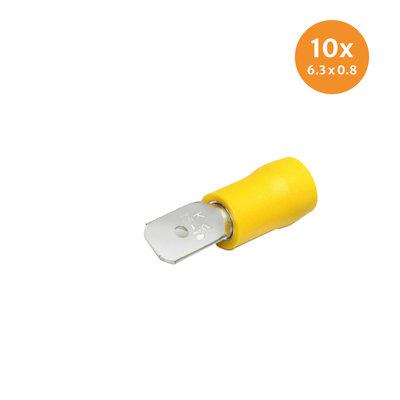 Vlaksteker Geïsoleerd Geel (6,3x0,8mm) 10 Stuks