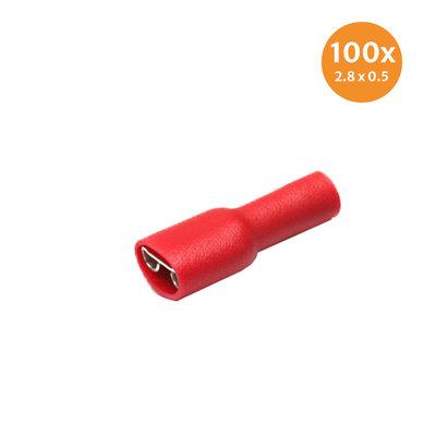 Vlakstekerhuls Geïsoleerd Rood (2,8x0,5mm) 100 Stuks