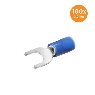 Vorkkabelschoen Blauw 3.2mm 100 Stuks