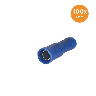 Rondstekerhuls Geïsoleerd Blauw 5mm (1,5-2,5mm) 100 Stuks