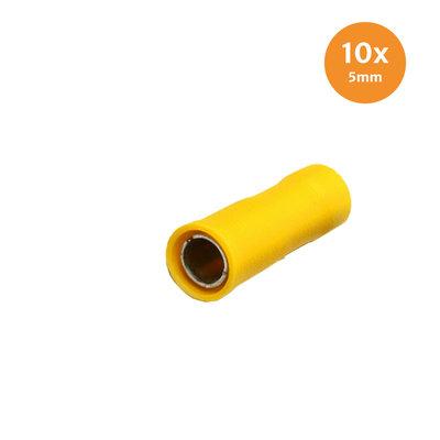 Rondstekerhuls Geïsoleerd Geel 5mm (4-6mm) 10 Stuks
