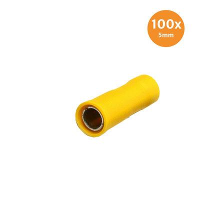 Rondstekerhuls Geïsoleerd Geel 5mm (4-6mm) 100 Stuks