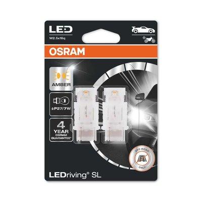 Osram P27/7W LED Retrofit Oranje 12V W2.5x16q 2 Stuks