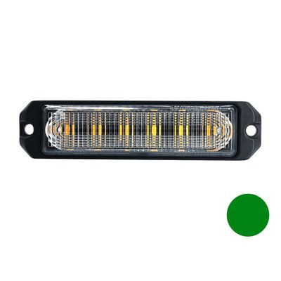 LED flitser 6-voudig ultra flat Groen
