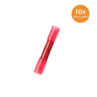 Kabelschoenen Met Krimpkous Waterdicht Rood (0.5-1.5mm) 10 Stuks