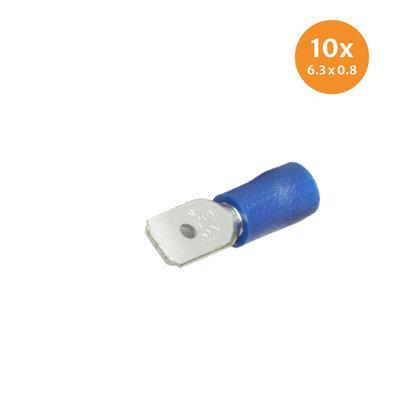 Vlaksteker Geïsoleerd Blauw (6,3x0,8mm) 10 Stuks
