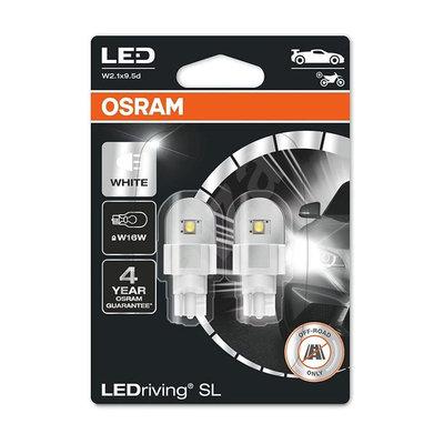 Osram W16W LED Retrofit Wit 12V W2.1x9.5d 2 Stuks