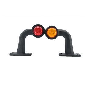 Set LED Breedtelampen haaks kort 10-30V Amber + Rood (Set)