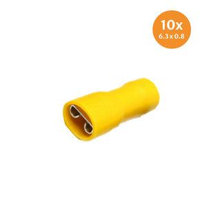 Vlakstekerhuls Geïsoleerd Geel (6,4x0,8mm) 10 Stuks